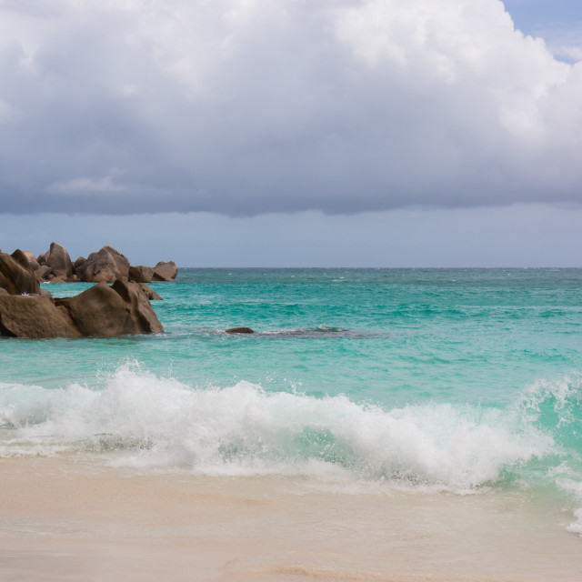 """Dream beach on the Seychelles"" stock image"