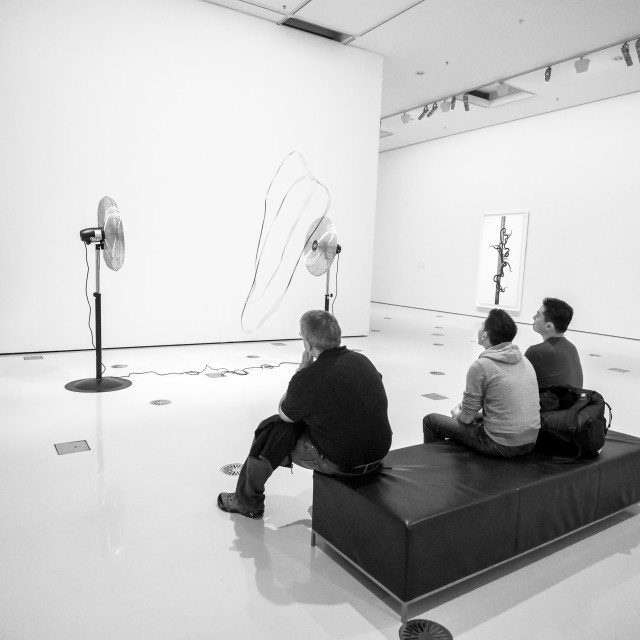 """Mesmerised By Movement at NGV Melbourne B&W"" stock image"