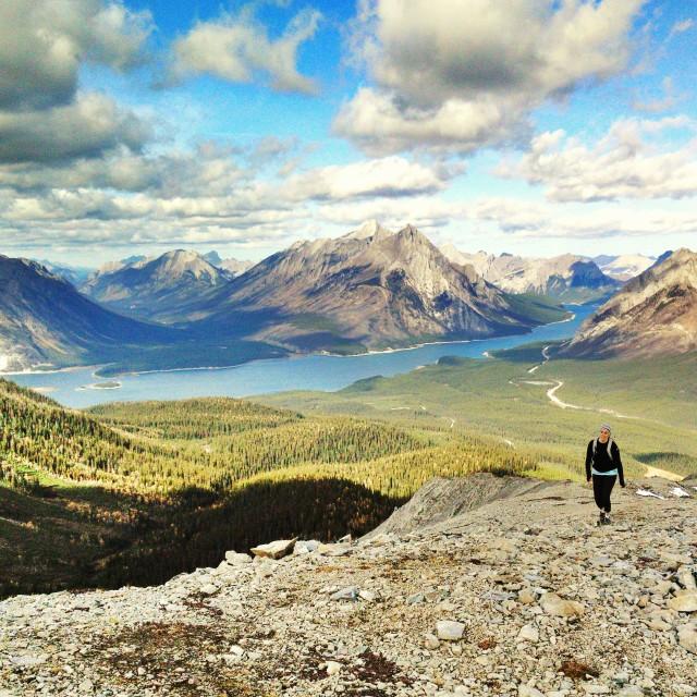 """""""Walking the ridge"""" stock image"""
