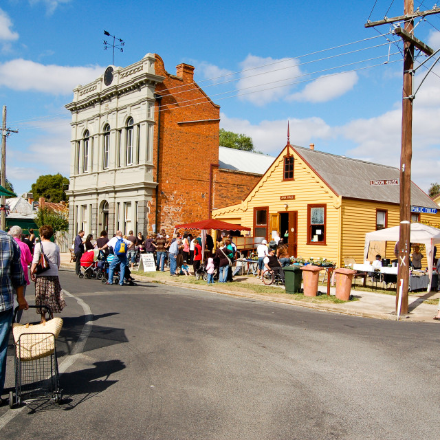 """Market Day in Rural Australian Town"" stock image"
