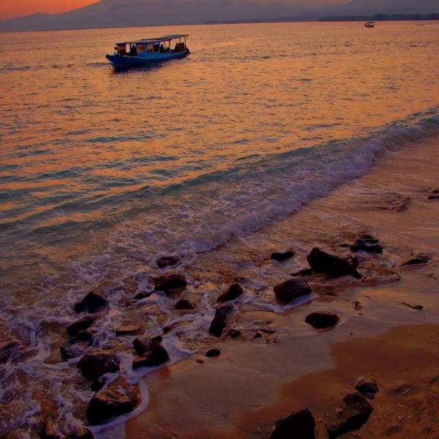 """""""Sunrise Boat"""" stock image"""