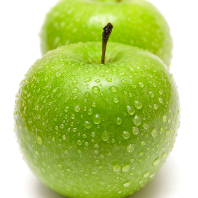 """Two Green Apples in a Row"" stock image"