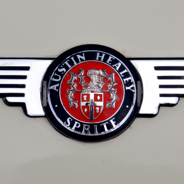 """Austin Healey Sprite Badge"" stock image"