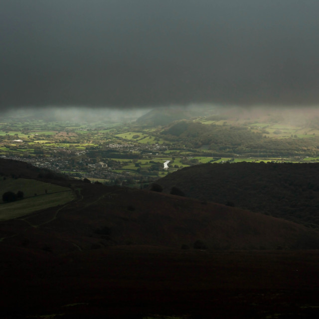 """Cloudy Monmouthshire landscape"" stock image"