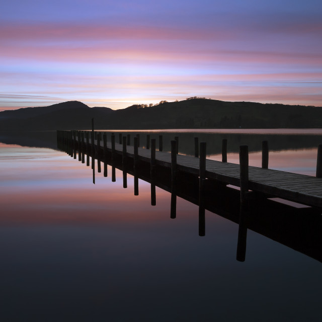 """A Cumbrian sunset - Coniston Water"" stock image"