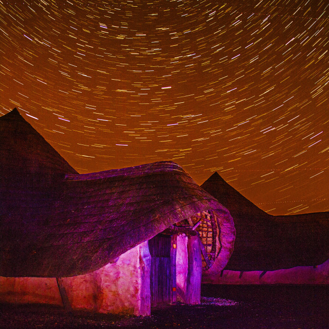 """Ancient Dwelling under the Stars"" stock image"