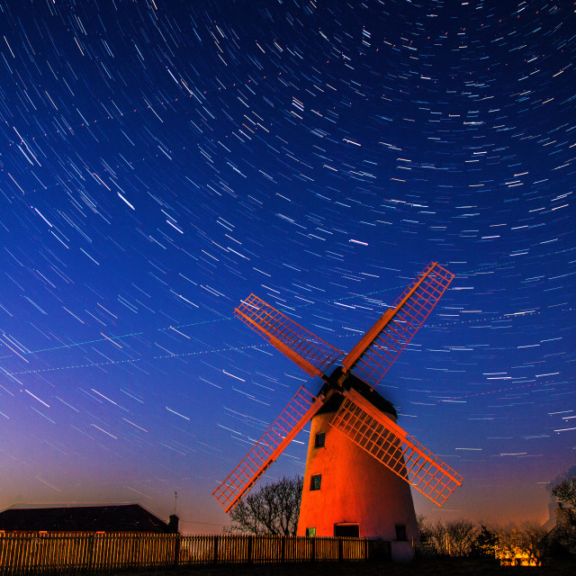 """Star Trails over the Windmill"" stock image"
