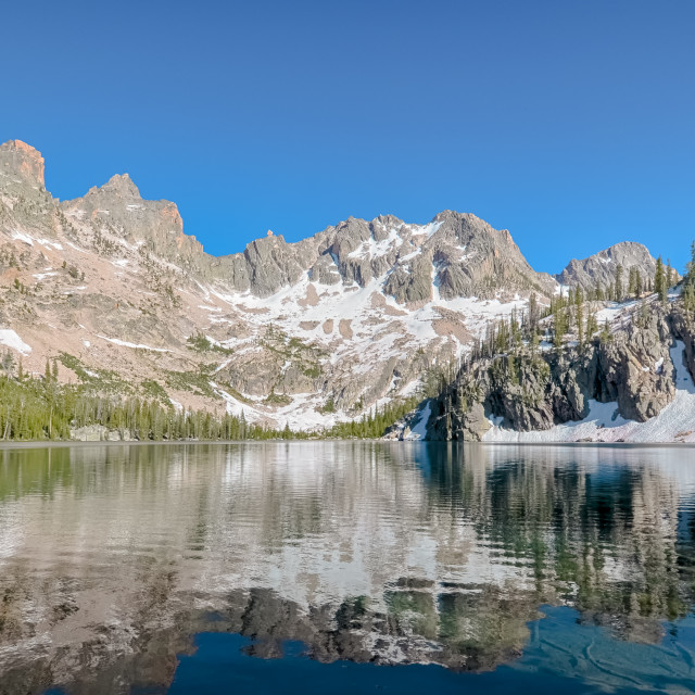 """Cramer Lake reflection, Sawtooth National Recreation Area, ID"" stock image"