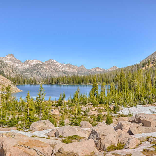 """Upper Cramer Lake, Sawtooth National Recreation Area, ID"" stock image"
