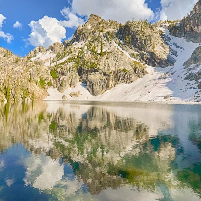 """Trail Creek Lake Reflection, Sawtooth National Recreation Area, ID"" stock image"