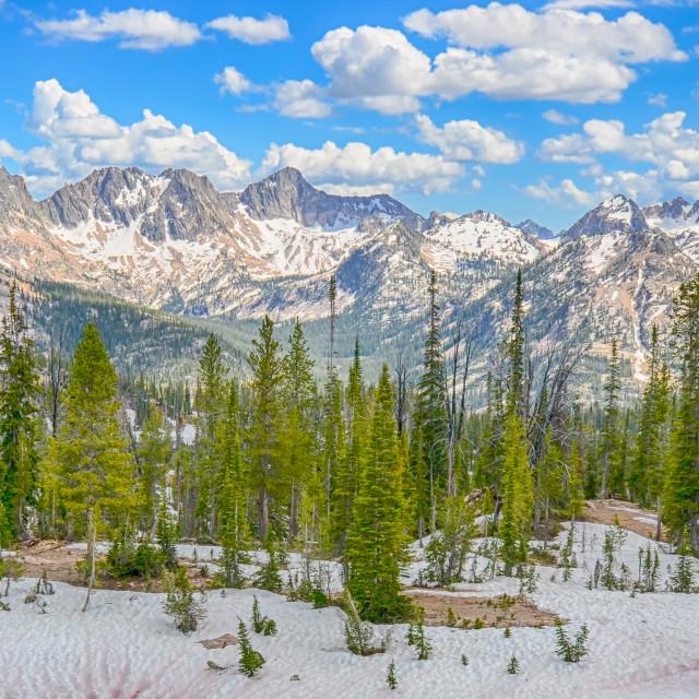 """Baron Divide, Sawtooth Range, Sawtooth National Recreation Area, ID"" stock image"