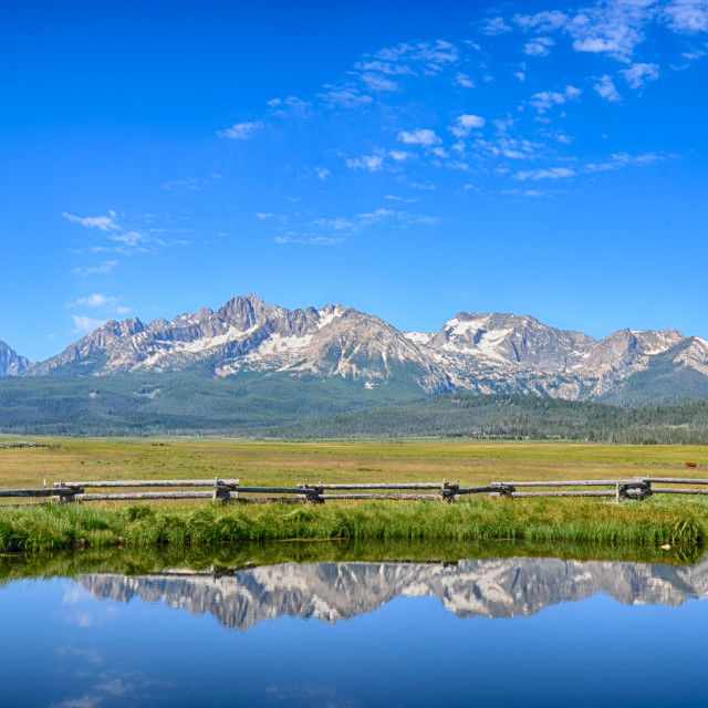 """Sawtooth Range Reflection, Meadow Creek, Stanley, ID"" stock image"