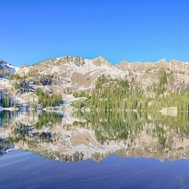 """Alpine Lake Reflection, Sawtooth National Recreation Area, ID"" stock image"