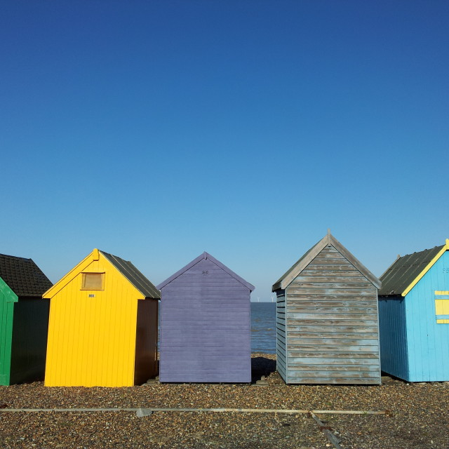 """beach huts in winter"" stock image"