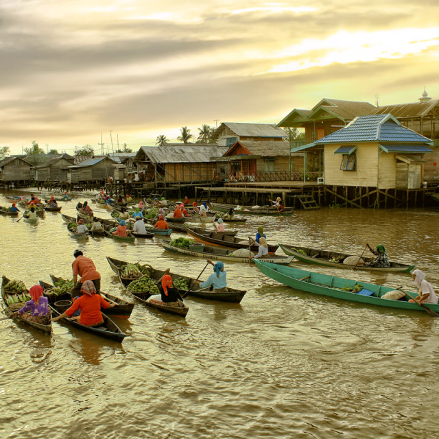 """Lok Baintan Floating Market"" stock image"