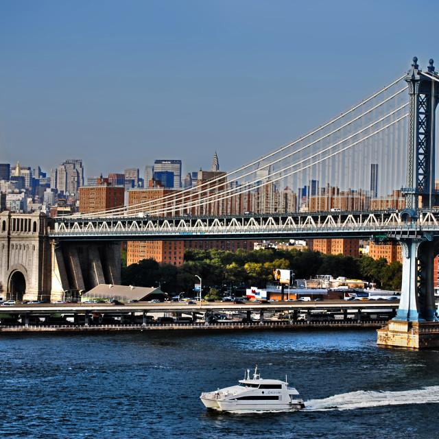 """Manhattan Bridge and Water Taxi"" stock image"