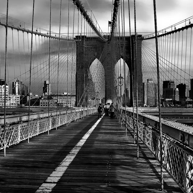 """Brooklyn Bridge - classic pedestrian point of view"" stock image"