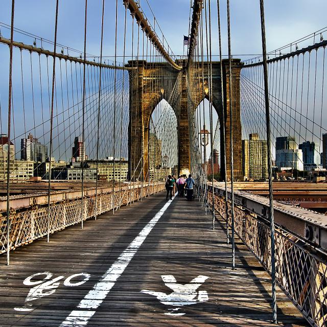 """Brooklyn Bridge - pedestrian point of view"" stock image"
