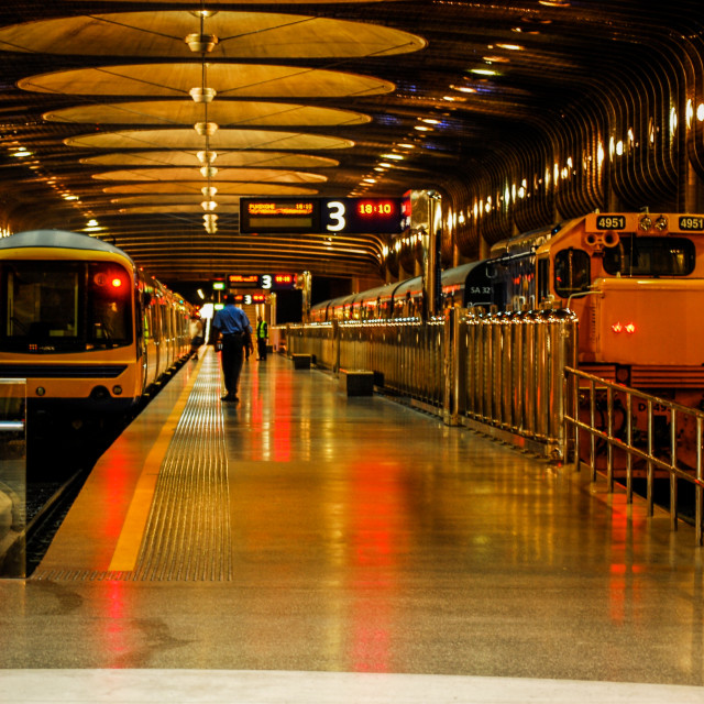 """Auckland Evening Train Platform 3"" stock image"