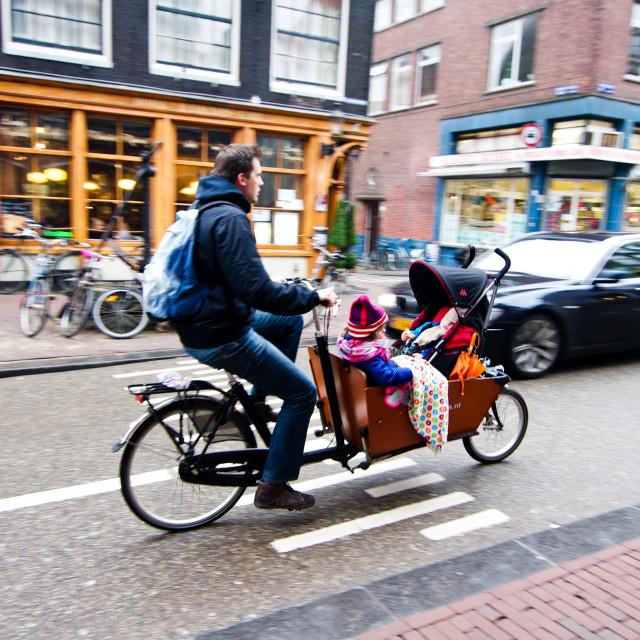 """Biking Parent & Children Amsterdam"" stock image"