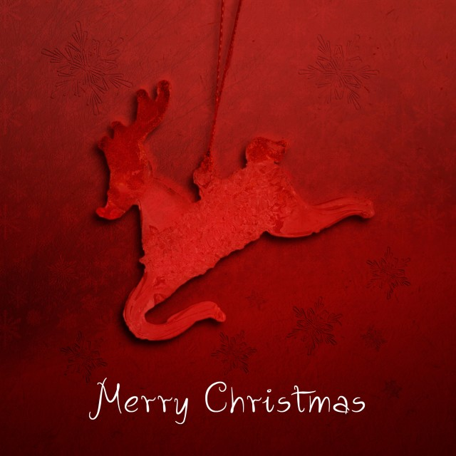 """Red Christmas Card with Reindeer and Merry Christmas"" stock image"