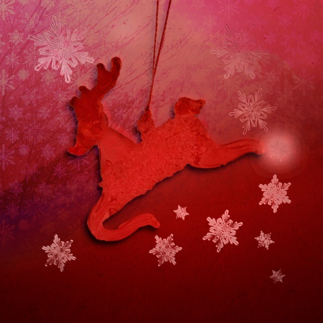 """Red Christmas Card with Reindeer"" stock image"