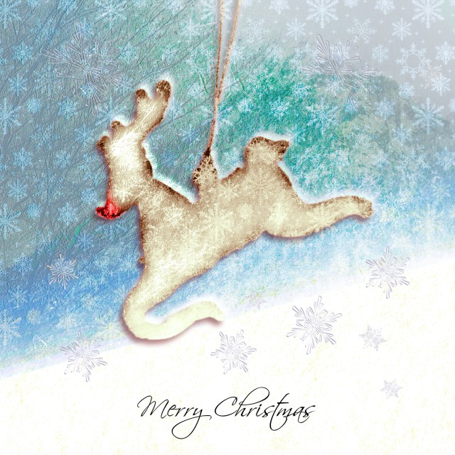 """Rudolph the Red Nose Reindeer Christmas Card"" stock image"