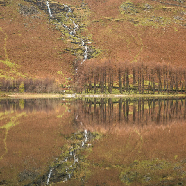 """Buttermere Reflections."" stock image"