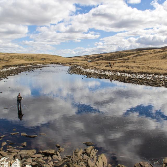 """""""Fly Fishing Falkland Islands"""" stock image"""
