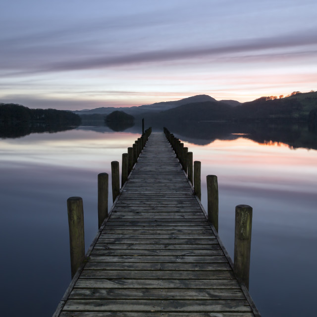 """A jetty in fading light by the Lake"" stock image"