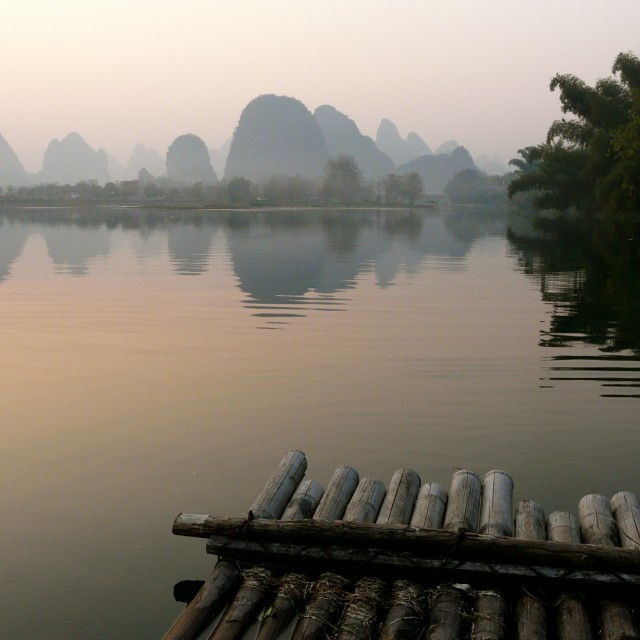 """Li river at dusk"" stock image"