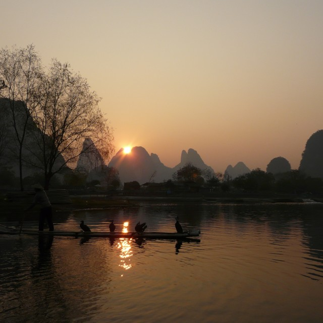 """Li river at sunset"" stock image"