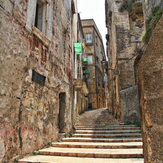 """A narrow street in Italy"" stock image"