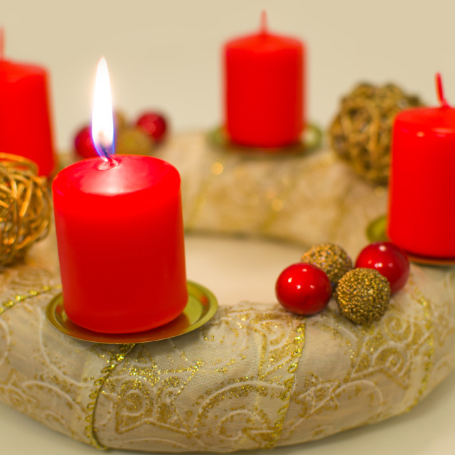 """Lighted Golden Advent Wreath"" stock image"