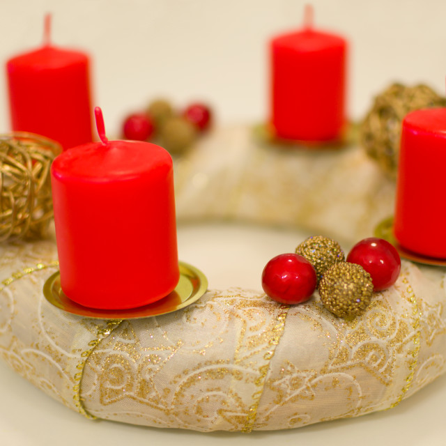 """Golden Advent Wreath"" stock image"