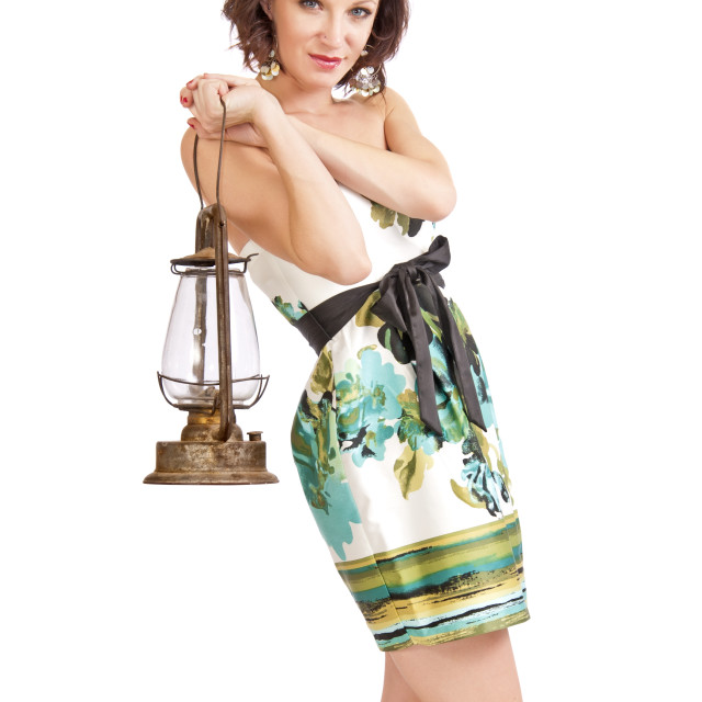 """""""Pretty Woman With A Storm Lantern"""" stock image"""