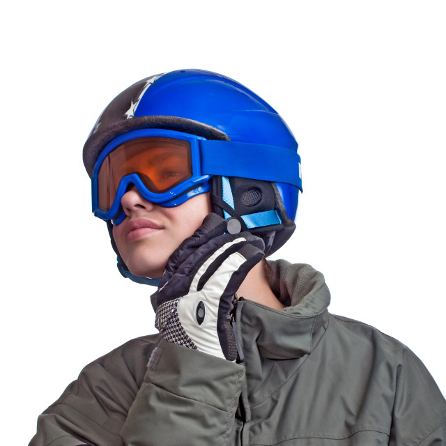 """""""Young Man Getting Ready To Ski"""" stock image"""
