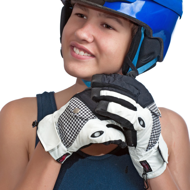 """""""Young Skier On A Sunny Day"""" stock image"""