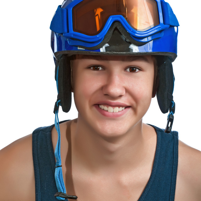 """""""Young Teen Skier Ready For tThe Sunny Slopes"""" stock image"""