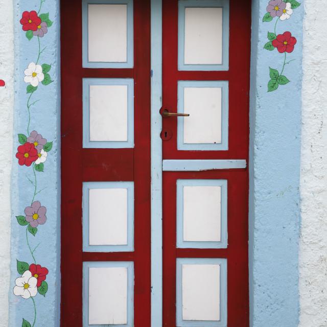 """Ornate Greek door"" stock image"