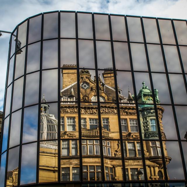 """Reflections of Old Newcastle UK"" stock image"