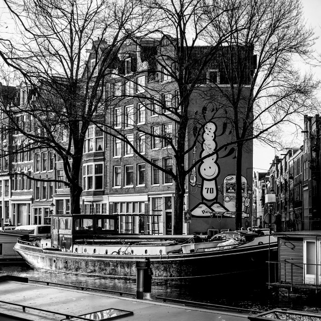 """Canal Boats in Winter in Amsterdam B&W"" stock image"
