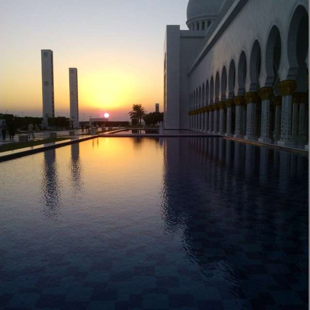 """Sheikh Zayed Grand Mosque Abu Dhabi november sunset"" stock image"