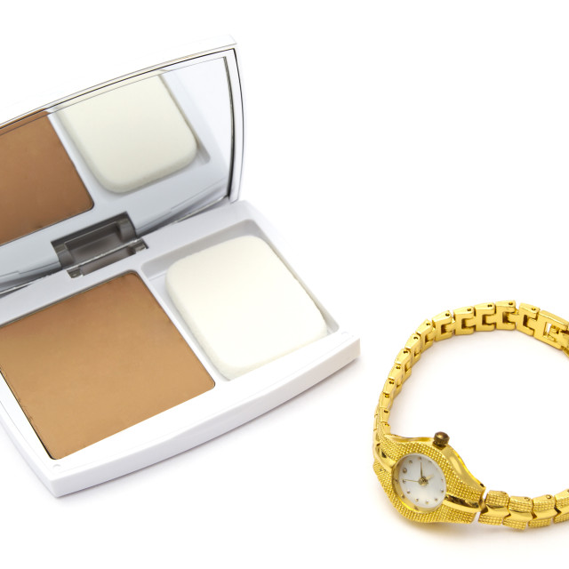 """""""Powder compact and watch"""" stock image"""