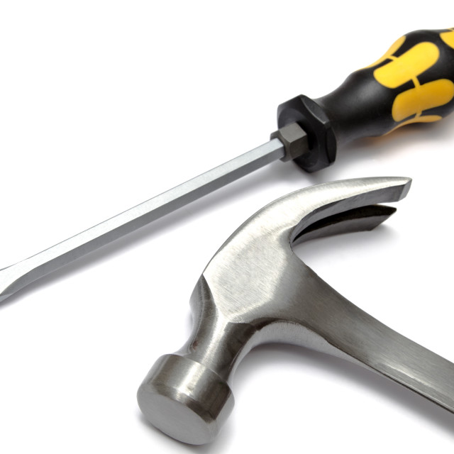 """Screwdriver and hammer"" stock image"