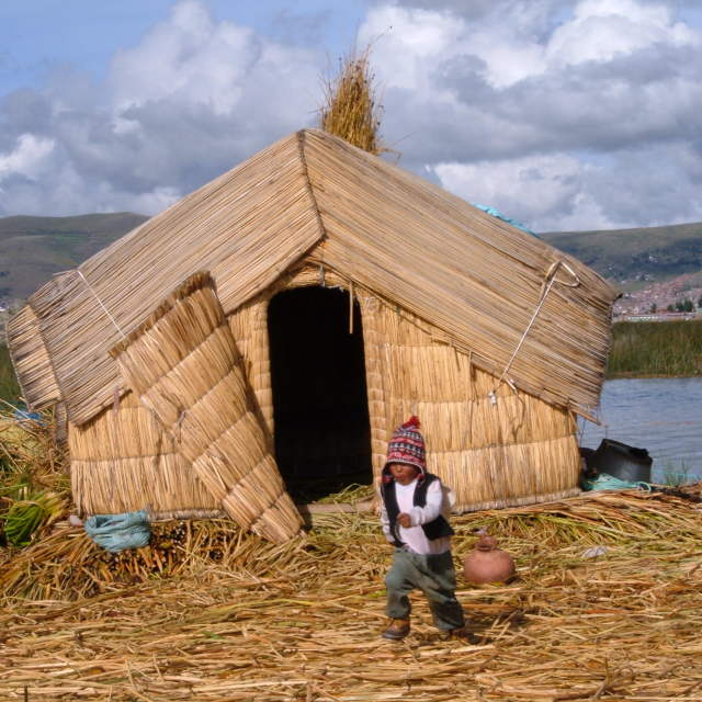 """Reed islands, Lake Titicaca"" stock image"