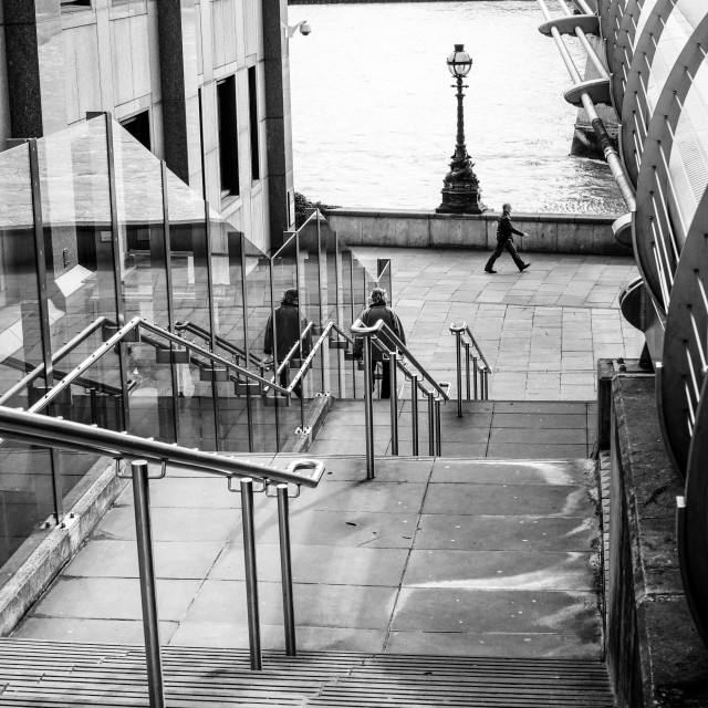"""Steps Down To Thames in London"" stock image"