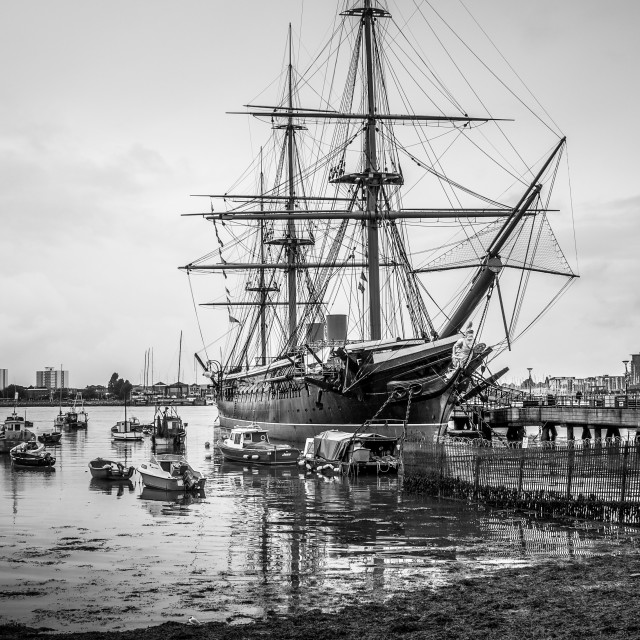 """HMS Warrior at Low Tide in Portsmouth, UK-B&W"" stock image"