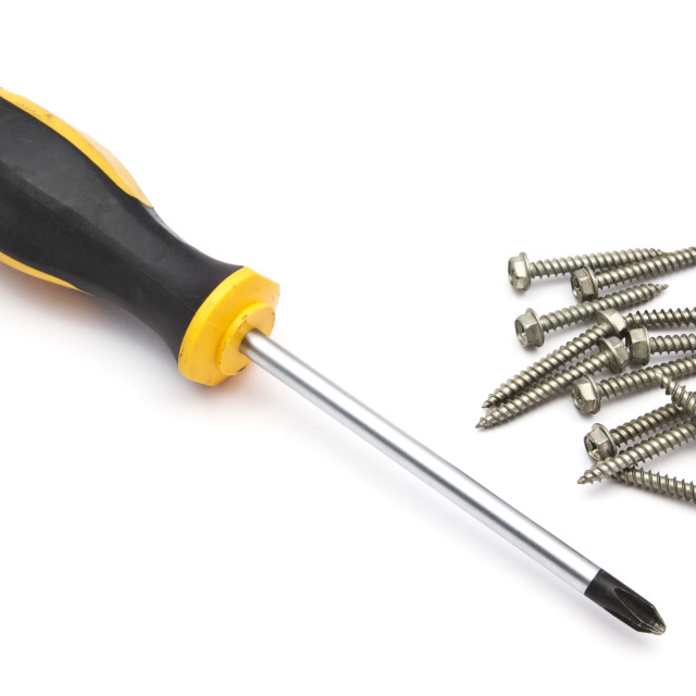 """Yellow screwdriver and screws"" stock image"
