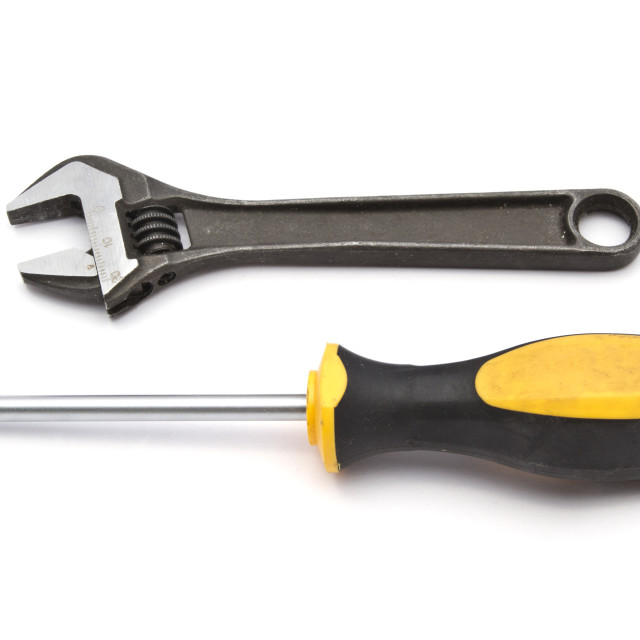 """Screwdriver and wrench"" stock image"